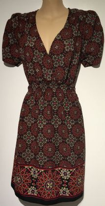 DOROTHY PERKINS BLACK/PINK PRINT TUNIC DRESS SIZE 14